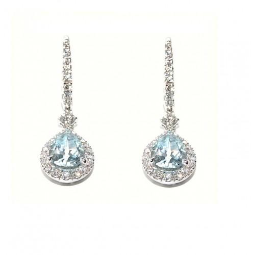 Orecchini in oro bianco 18 kt diamanti e acquamarina Crivelli